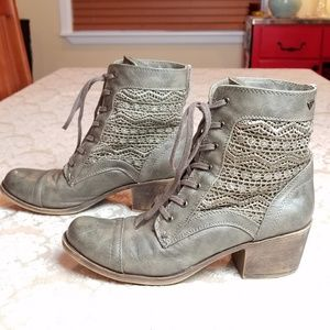 Roxy Olive Lace Embellished Half Boots